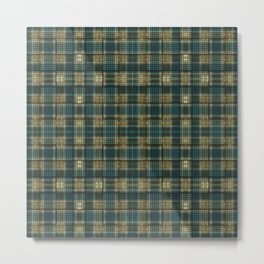 Green/Blue/Orange Plaid/Hounds-tooth Mix Metal Print