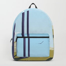 Green hillside and trees cartoon landscape. Backpack