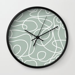 Doodle Line Art | White Lines on Light Gray Green Wall Clock