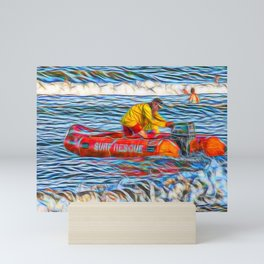 Abstract Surf rescue boat in action Mini Art Print