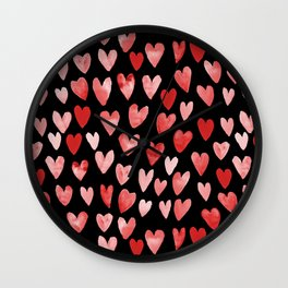 Watercolor Hearts pattern black red and pink minimal valentines day perfect gift for love Wall Clock