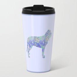 Bloodhound Dog Vintage Floral Pattern Periwinkle Blue Violet Purple Mint Travel Mug