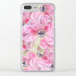 Shocking Pink Flora Gems Clear iPhone Case