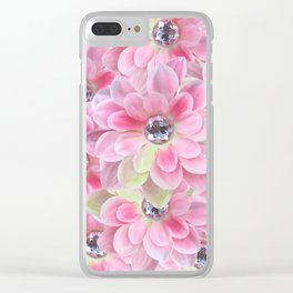 Shocking Pink Flora Gems Clear iPhone Case