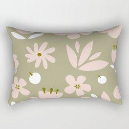 Cute Modern Floral Pattern Design - Retro Colour Print Rectangular Pillow