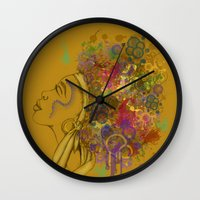 afro Wall Clocks featuring Afro by KiraTheArtist