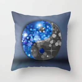 YIN & YANG Stars in blue black Throw Pillow