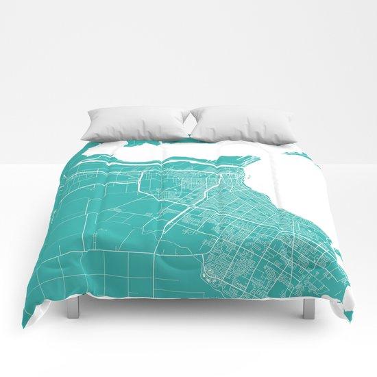 Corpus Christi map turquoise Comforters