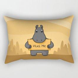 "Cute hand drawn Hippo with sign ""Hug me"" Rectangular Pillow"