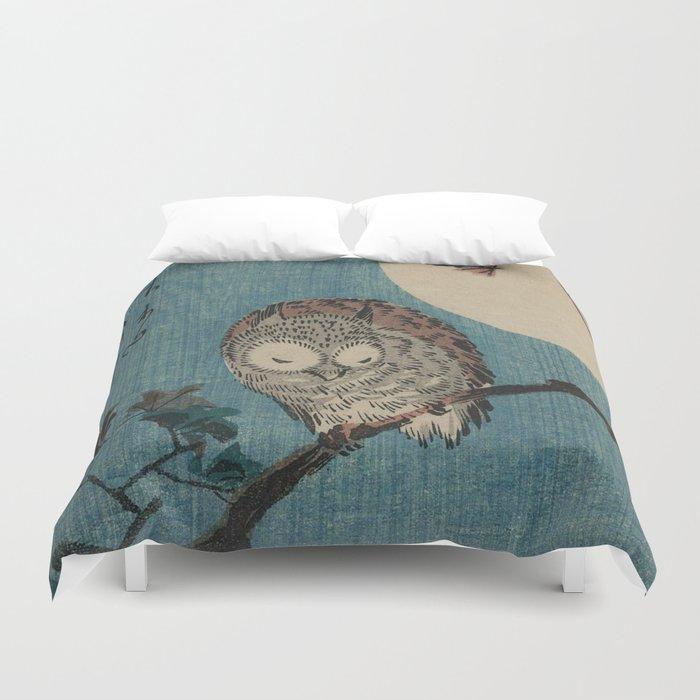 Vintage Japanese Owl Duvet Cover