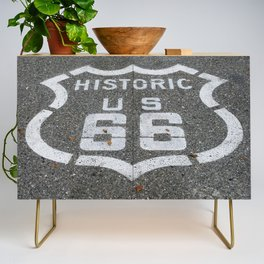 Route 66 sign on the road Credenza