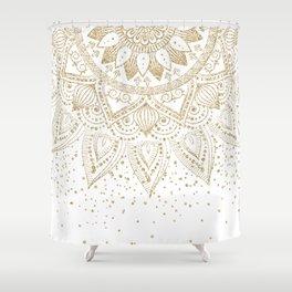 Elegant Gold Mandala Confetti Design Shower Curtain