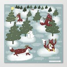The fox winter Canvas Print