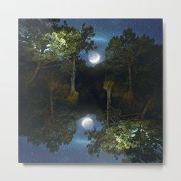 Moonset in coniferous forest Metal Print
