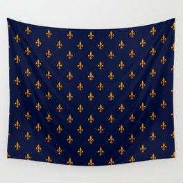 Blue & Gold Fleur-de-Lis Pattern Wall Tapestry
