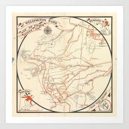 Mt. Wellington Park map of roads, tracks, etc.   [compiled by] V. W. Hodgman Art Print