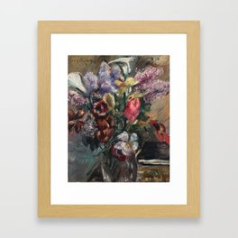 Lovis Corinth 1858 Tapiau, Ostpreußen – 1925 Zandvoort Holland Still Life with lilac, calla and tuli Framed Art Print