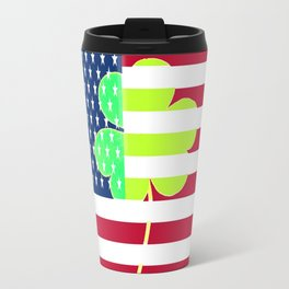 St. Patrick's Day Flag Irish Shamrock American Flag Colors Travel Mug
