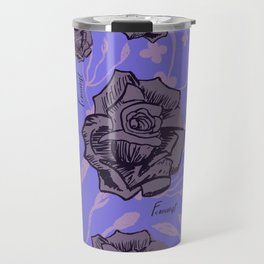Feminist Purple Floral Print Travel Mug