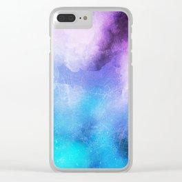 Azure Watercolor paint Clear iPhone Case