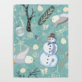 Seamless Winter Pattern with Snowman and Owls Poster