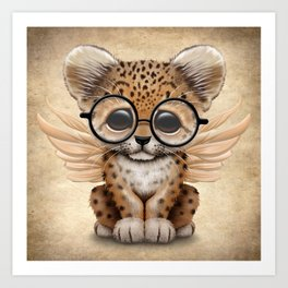 Cute Leopard Cub Fairy Wearing Glasses Art Print