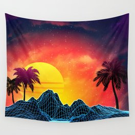 Sunset Vaporwave landscape with rocks and palms Wall Tapestry
