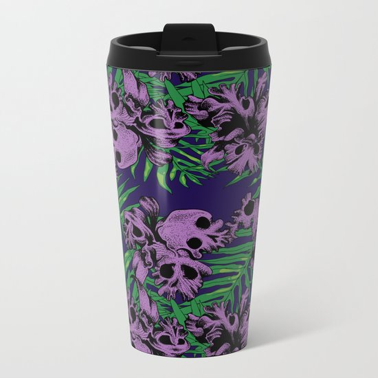 Orchid Skulls Metal Travel Mug