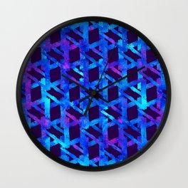 Cosmic blue watercolor bright print. Wall Clock