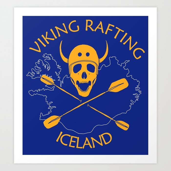 Viking Rafting Iceland Art Print