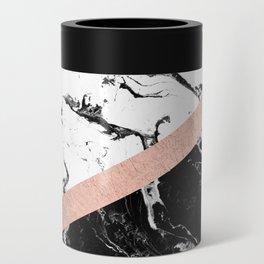 Modern black white marble color block rose gold Can Cooler
