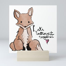 Introvert Quote Cute Watercolor Fox Art Mini Art Print