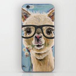Cute Alpaca With Glasses iPhone Skin