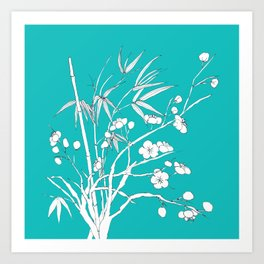 bamboo and plum flower white on blue Art Print