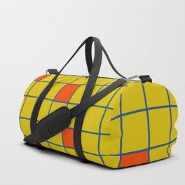 Abstract Retro Grid Orange Squares Duffle Bag