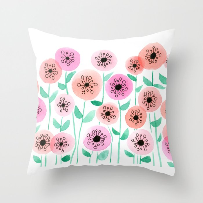 Pink and Peach Floral Watercolor Painting Throw Pillow