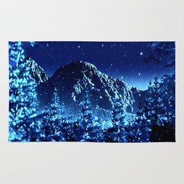 moonlight winter landscape Rug