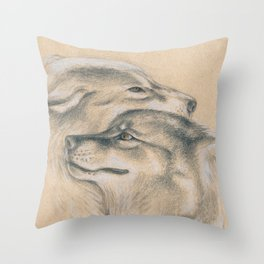 Wild Souls Snuggling Wolves Drawing Throw Pillow