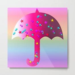Starry Umbrella in Pink Metal Print