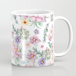 Modern elegant blush pink green lilac watercolor floral Coffee Mug
