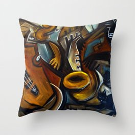 Black Cat Jazz Throw Pillow