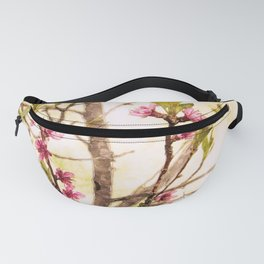 Peach tree branches in springtime with pink blossoms Fanny Pack