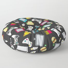 Gamer Video Game Controllers Fast Food Pattern Floor Pillow