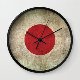 Old and Worn Distressed Vintage Flag of Japan Wall Clock