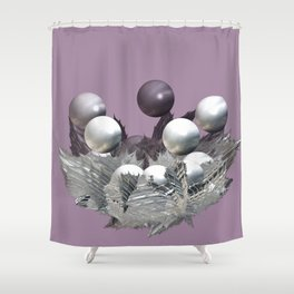 Spikes and Spheres Shower Curtain
