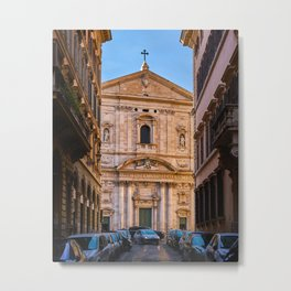 Street view of the Santa Maria in Vallicella church in Rome Metal Print