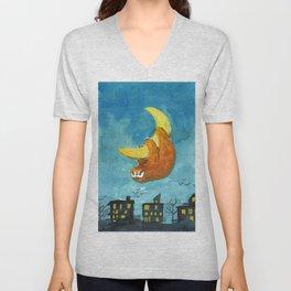 sloth moon night city Unisex V-Neck