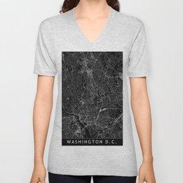 Washington D.C. Black Map Unisex V-Neck