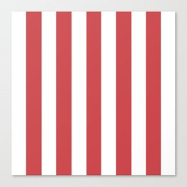 English vermillion pink - solid color - white vertical lines pattern Canvas Print
