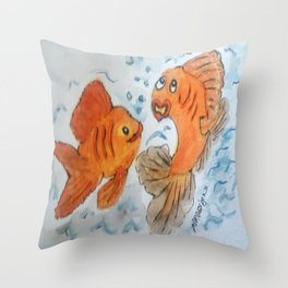 Silly goldfish Throw Pillow